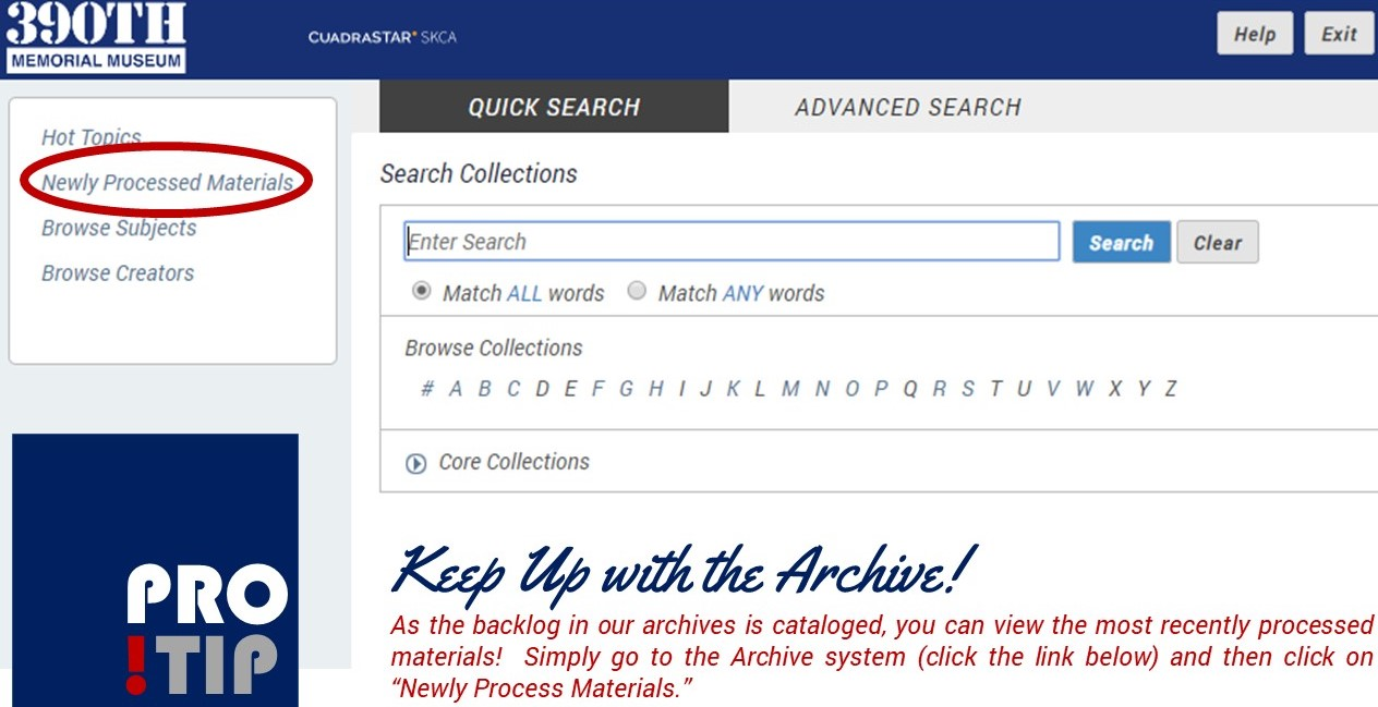 "Slide shows screen shot of Archive page with red circle around ""Newly Processed Materials"""