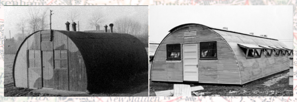 The front of a British Nissen hut vs an American Quonset hut, similar but constructed differently